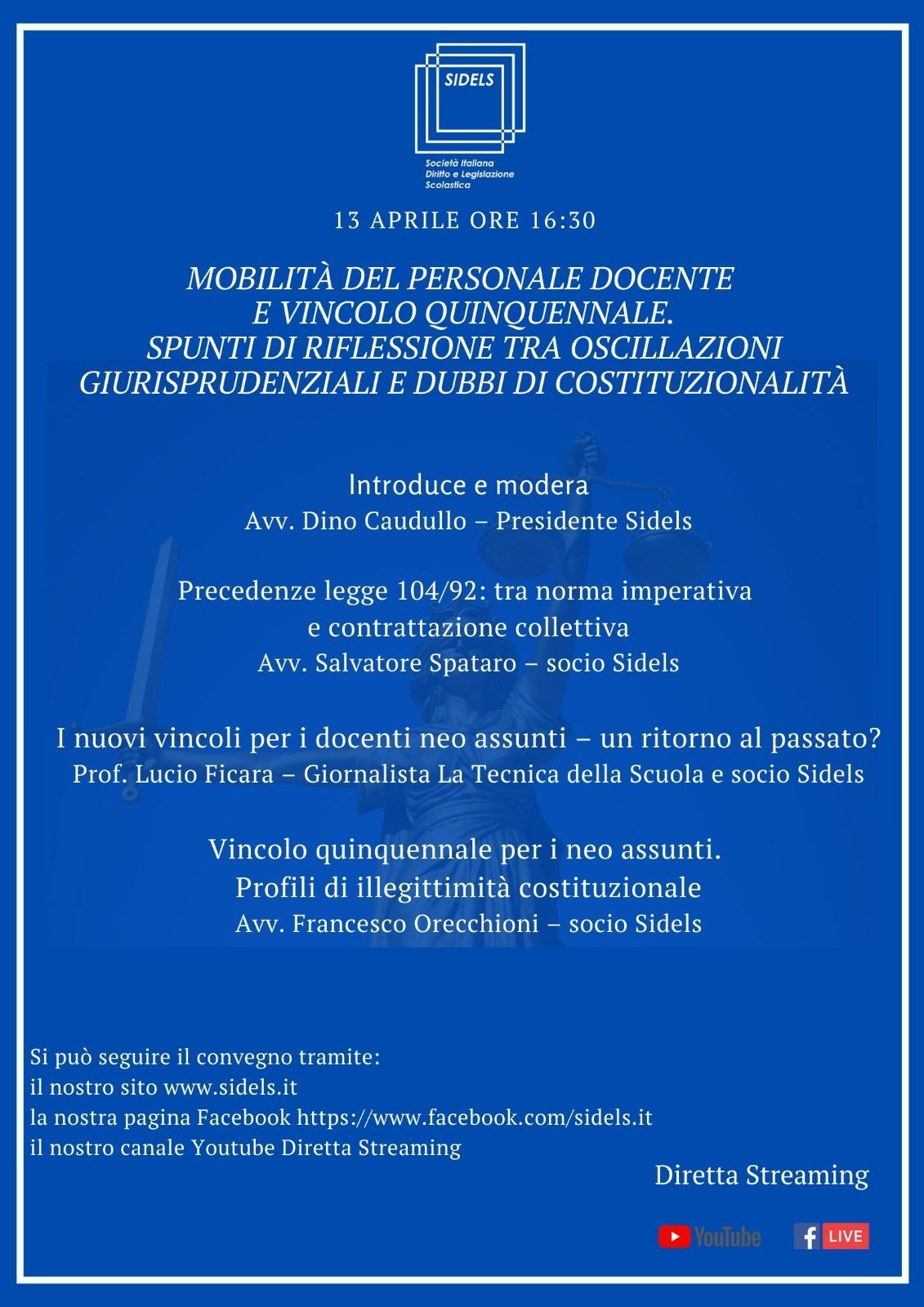 Convegno 13 aprile ore 16:30: Mobilità del personale docente e vincolo quinquennale. Spunti di riflessione tra oscillazioni giurisprudenziali e dubbi di costituzionalità.